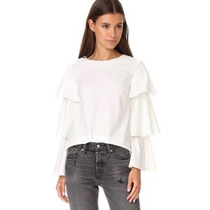 English Factory Ruffle Accent Blouse L